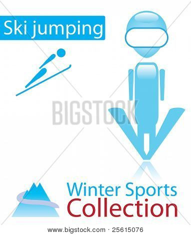 Ski jumping from winter sports collection. sign and person icon. Raster version (vector available)