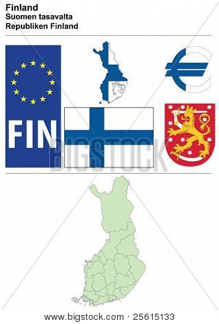 Finland collection including flag, plate, map (administrative division), symbol, currency unit & coat of arms