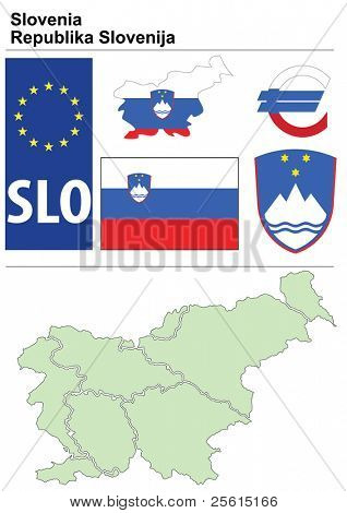 Slovenia collection including flag, plate, map (administrative division), symbol, currency unit & coat of arms