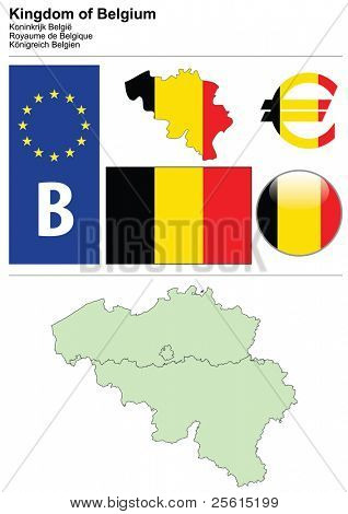 Belgium collection including flag, plate, map (administrative division), symbol, currency unit & glossy button