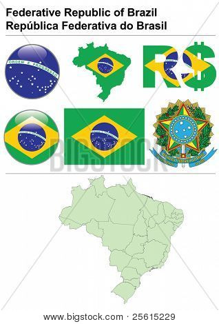 Brazil collection including flag, map (administrative division), symbol, currency unit & glossy button