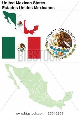 Raster version (vector available in my portfolio) of Mexico collection including flag, map (administrative division), symbol & coat of arms