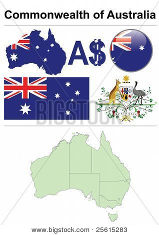 Raster version (vector available in my portfolio) of Australia collection including flag, map (administrative division), symbol, currency unit & glossy button