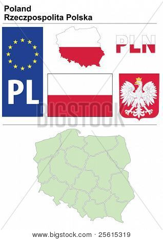 Raster version (vector available in my portfolio) of Poland collection including flag, plate, map (administrative division), symbol, currency unit & coat of arms