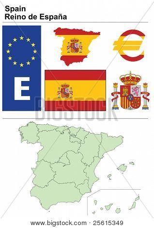 Raster-Version (Vektor in meinem Portfolio verfügbar) Spanien Sammlung einschließlich Flag, Teller, Karte (n. Chr.