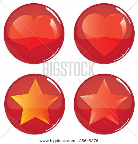 Raster version of glossy balls with heart and star inside (vector available in my portfolio)