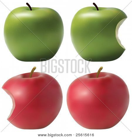 Photo realistic apples set. Green and red. Bitten effect.