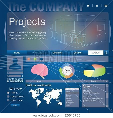 Business page web template. All elements of web page are editable. easy assemble.