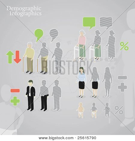 Demographic infographics. People icons including man, woman, old man, old woman and baby made in a different styles. plus operation signs and speech bubbles.