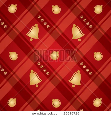 christmas checker pattern with bell
