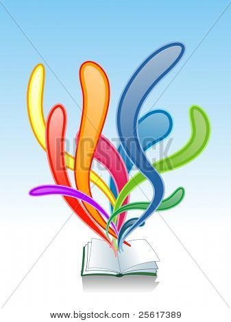Illustration of splashing colorful book, for vector version, please check my gallery