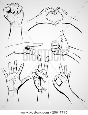Satz von Handgeste