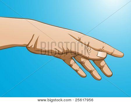 Ilustración a todo color de un alcance de la mano