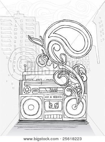 Boom box with cityscape