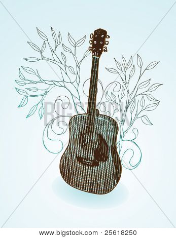 guitar with hand drawn tree