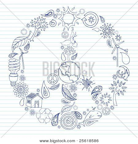 Environmental doodles arranged in a peace sign on lined notebook paper