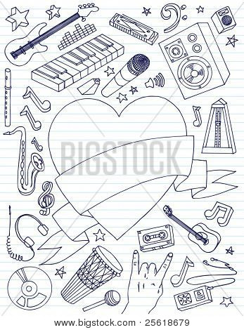 Variety of music related doodles with large heart banner for your text.