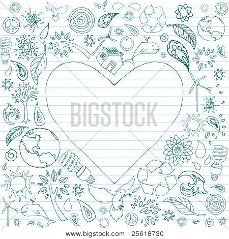 Selection of eco-friendly doodles surround a heart shaped text area.