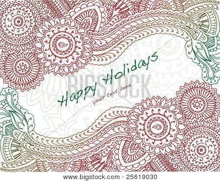 Ornate henna in holiday colors with text area.