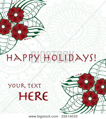 Hand drawn flowers in holiday colors on henna background.