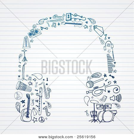 Music doodles in headphones shape.