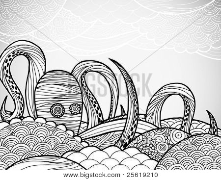 Line art octopus in textured waves.