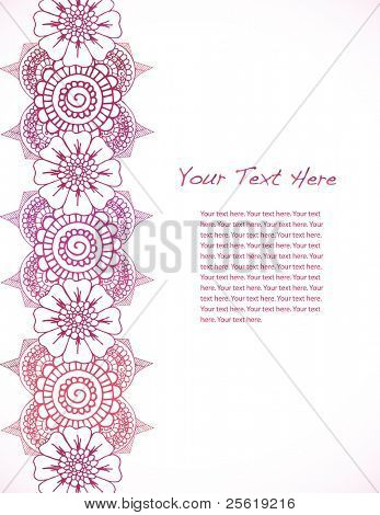 Detailed hand drawn henna border with large text area.