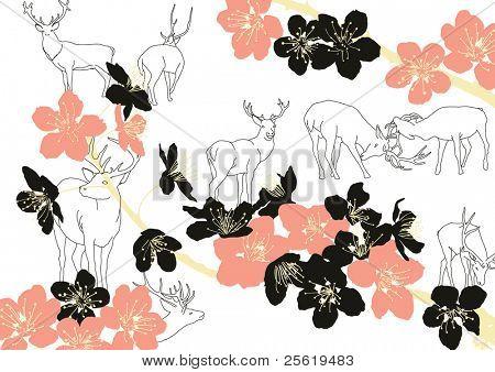 Deer with Plum Blossom.