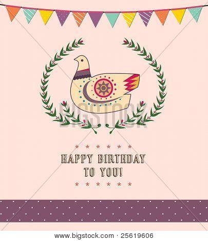 Happy Birthday Card Design - Cute Pigeon -Vector Illustration