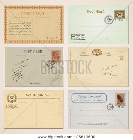 Postcards and stamps in vintage design. Set of 6.