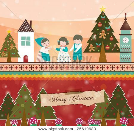 Retro Christmas Card. Family are Celebrating Xmas at Night with Peaceful.