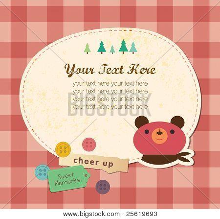 Cute Frame Design. Bear Greeting Card.