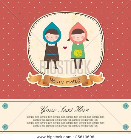 Cute Frame Design for Couple. Suitable for Wedding Invitation.