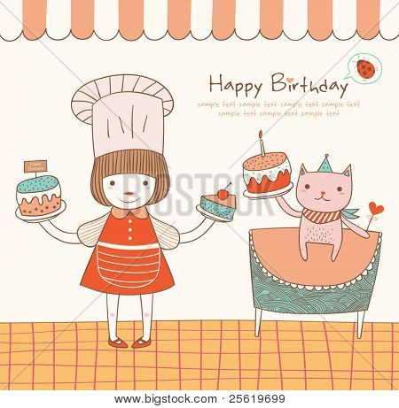 Girl and Cat with a Birthday Cake. Greeting Card Design.