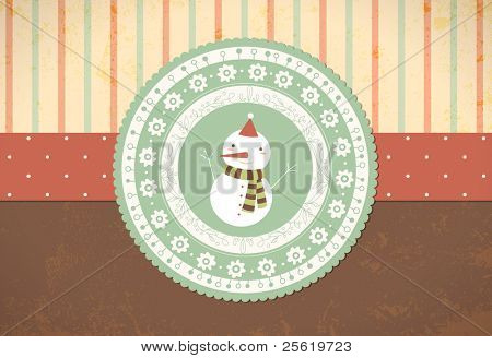 Christmas Background with Snowman in Retro Style