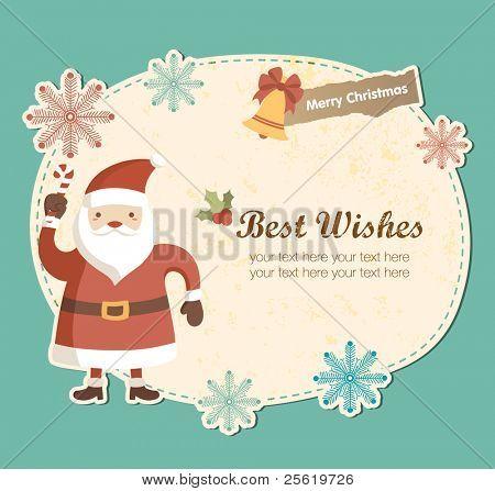 Cute Frame with Santa Claus. Christmas Greeting Card Design.