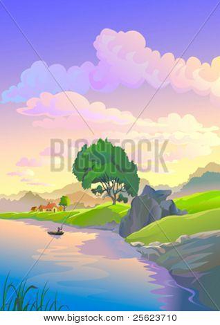 Its dusk  time by sleepy riverside village