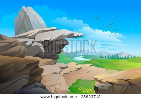 Rocky hills , river and vast blue sky