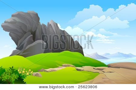 LAKE  SURROUNDED BY ROCK AND HILLS