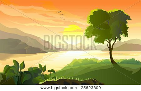 SUNRISE IN HILLS AND YOUNG TREE BY LAKE SIDE
