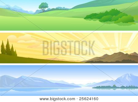 NATURE THEMES - LAKE ,SUNRISE AND GREEN-FIELD