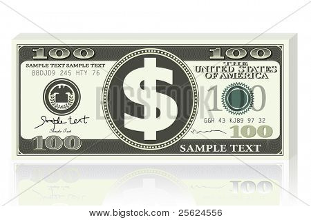 illustration of dollar note on white background