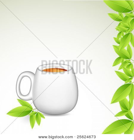 illustration of tea cup with green leaves on isolated background
