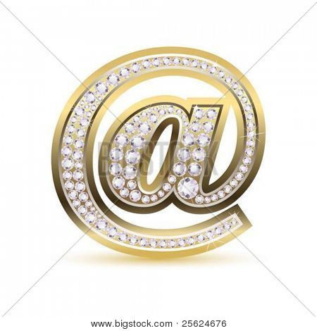 illustration of web icon with diamond on isolated white background