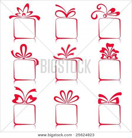 illustration of set of gift boxes on isolated white background