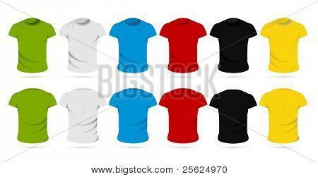 illustration of set of colorful front and back view of male t-shirts