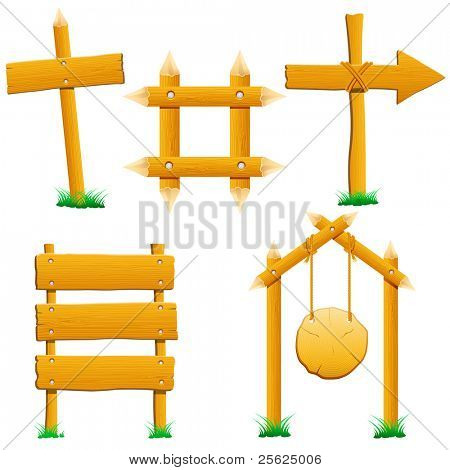 illustration of set of wooden sign board on isolated background