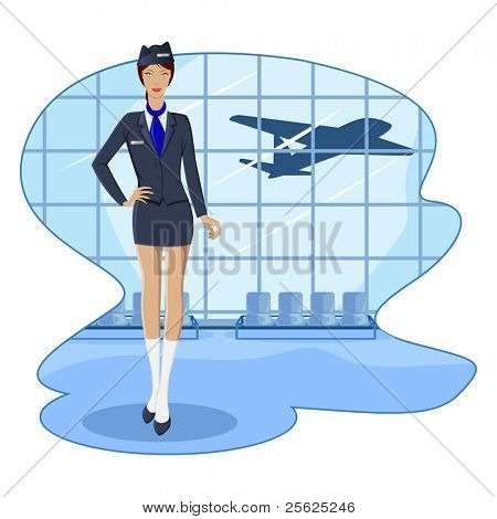 illustration of air hostess in airport lounge with flying airplane