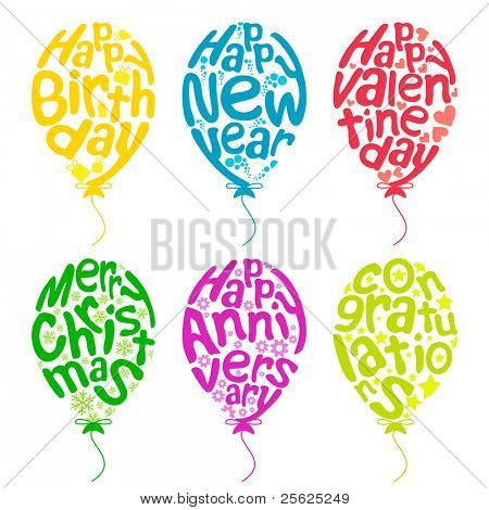 illustration of set of balloon for different occasion on isolated white background