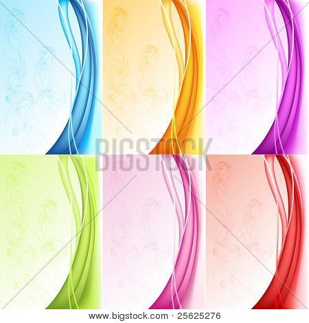 illustration of set of colorful background with floral pattern